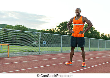 Track and Field Runner Smiling - African American man in his...
