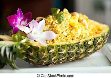 Yummy Thai Pineapple Fried Rice - Freshly prepared pineapple...