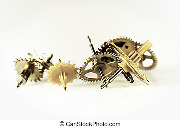 Clock gears - clock gears on white background