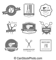 barbershop - Vector set of retro barber shop labels, logo,...