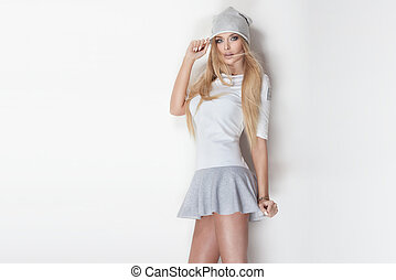 Fashionable blonde woman posing. - Fashionable sexy blonde...