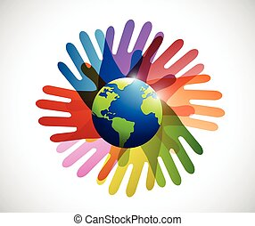 diversity hands around the globe illustration design over a...
