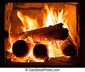 Fire in the furnace fireplace winter season