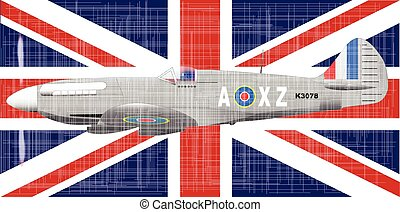 Battle of Britain - The British Union Jack flag and fighter...