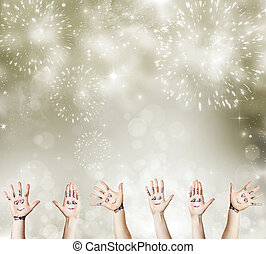 New Year concept with painted hand celebrating - Painted...