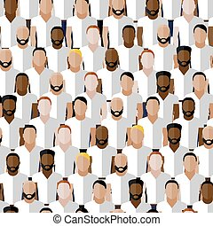 vector seamless pattern with men group or community wearing...