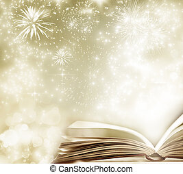 Holiday background with magic book