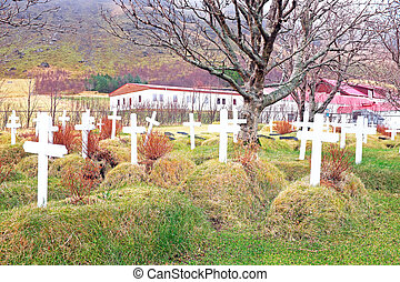 Grave yard in the countryside from Iceland
