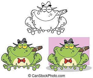 Frog Mobster. Collection Set - Frog Mobster With A Hat And...