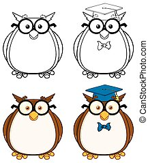 Cute Owl Character 3. Collection