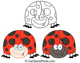 Smiling LadyBird. Collection Set - Smiling LadyBird Cartoon...