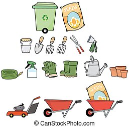 Gardener Tools Collection Set - Cartoon Gardener Tools...