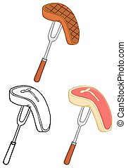 Fork With Steak. Collection Set - Cartoon Character Fork...
