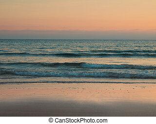 Retro beach - Tranquil beach scene retro styled, sunset,...