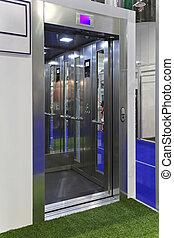 Lift - Open door at contemporary elevator cabin