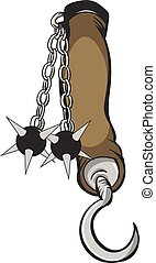 Flail Medieval Arm Brace - Vector fantasy illustration of a...