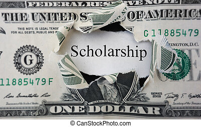 scholarship note - Torn dollar hole with Scholarship paper...