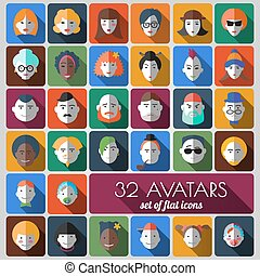 set of flat icons 32 avatars of people different ages