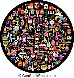 Round art collage - Art collage of many different images on...