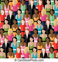 vector seamless pattern with a large group of girls and...