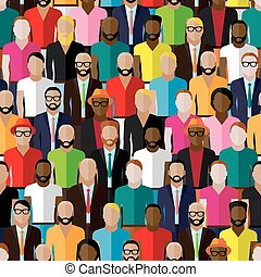 vector seamless pattern with a large group of guys and men....