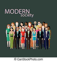vector flat illustration of business or politics community....