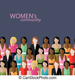vector flat illustration of women community with a large...