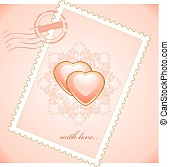 Valentines postage stamp. Vector illustration