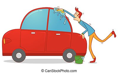 Vector Illustration of Man Washing a Red Car, illustration - Man ...