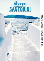 Houses of Santorini in details, pot with flower on the...