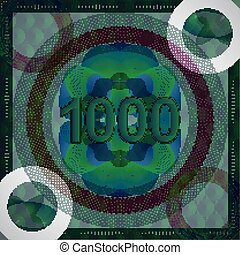 vector illustration of number 1000 (one thousand) in guilloche ornate style. monetary banknote background