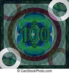 vector illustration of number 100 (one hundred) in guilloche...