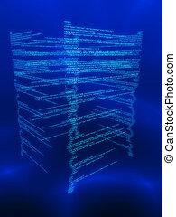 code matrix - 3d rendered illustration of an abstract binary...
