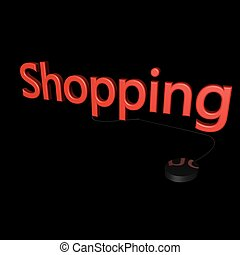 Shopping word with mouse linked, isolated over black, 3d...