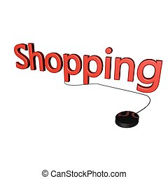 Shopping word with mouse linked, isolated over white, 3d...