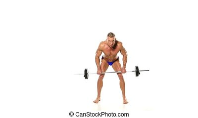 Man Doing Exercise For Back With Barbell Man Doing Heavy...