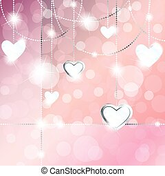 Sparkly banner with heart pendants - Elegant romance-themed...