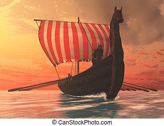 Viking Man and Longship - A Viking longboat sails to new...