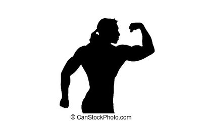 Realistic silhouettes of posing bodybuilders on white.