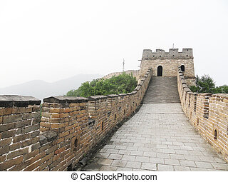 great wall in china - brick wall on great wall