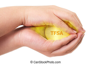 Canadian Tax-Free Savings Account concept with two hands holding