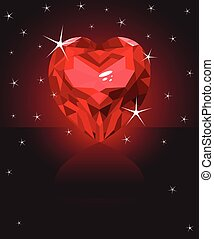 Heart - Shiny ruby love heart on black background