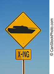 Tank Crossing Sign - yellow and black tank crossing road...
