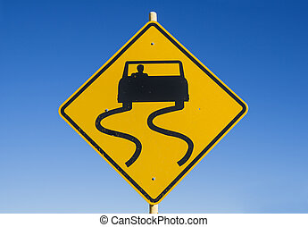 Caution Slippery Road Sign - yellow and black caution...
