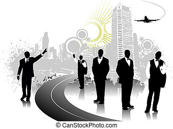 People silhouettes with grunge cityscape. Vector illustration
