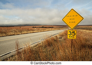 Prairie Dog Sign By Road - prairie dog crossing sign by the...
