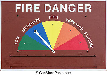 Fire Danger Sign - fire danger sign set to moderate or blue