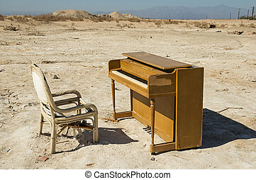 Abandoned Piano - old abandoned broken piano and chair near...