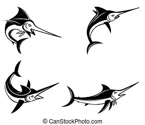 Marlin Fish Symbol Set Collection