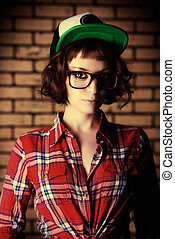 naughty - Trendy beautiful young model. Education.